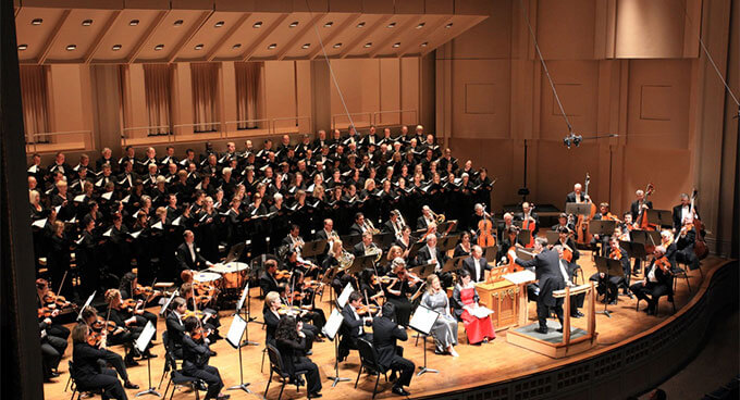 A choir and an orchestra