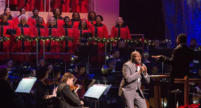 A gospel choir with the Oregon Symphony