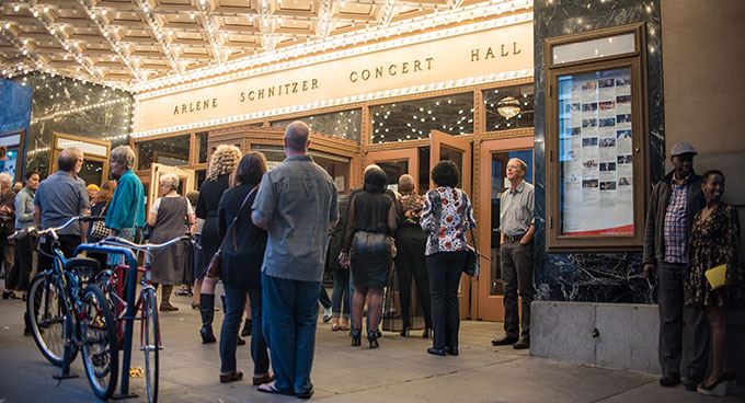 The audience walks into the Arlene Schnitzer Concert Hall