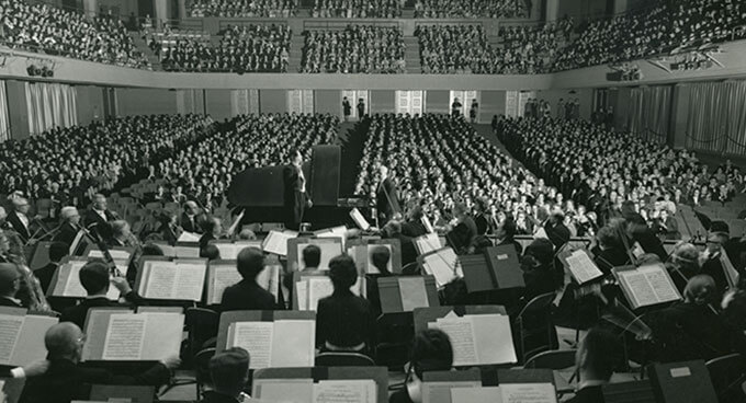A photograph of the Oregon Symphony from the 1950s