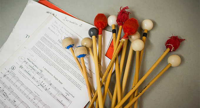 Mallets and sheet music