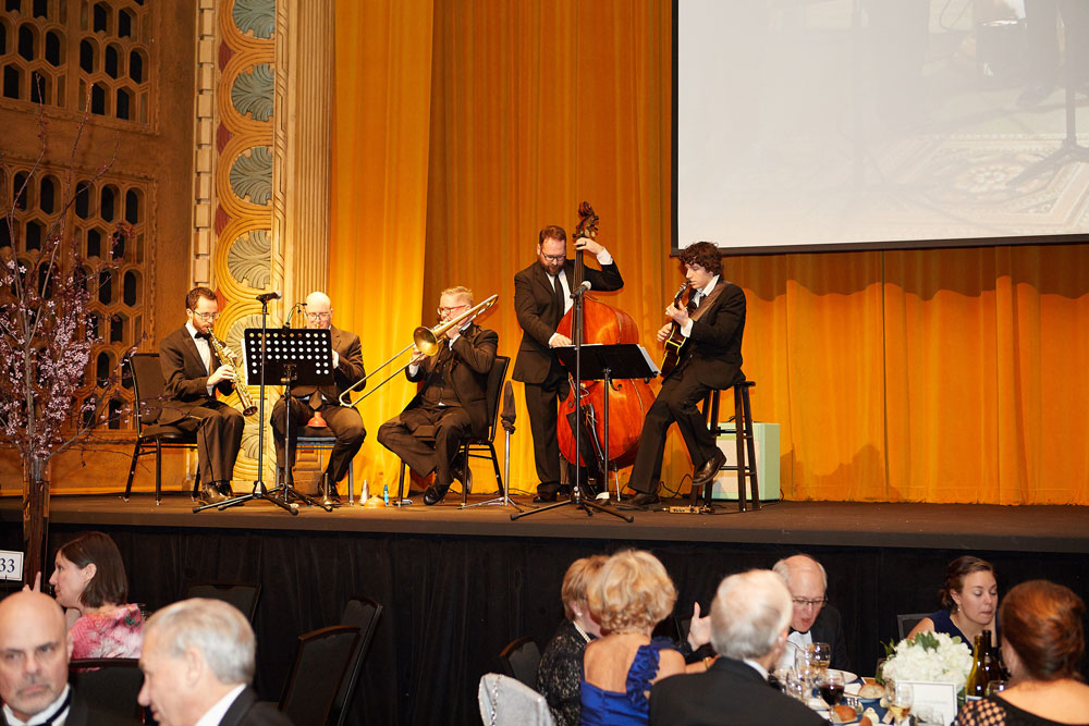 Musicians playing at the gala