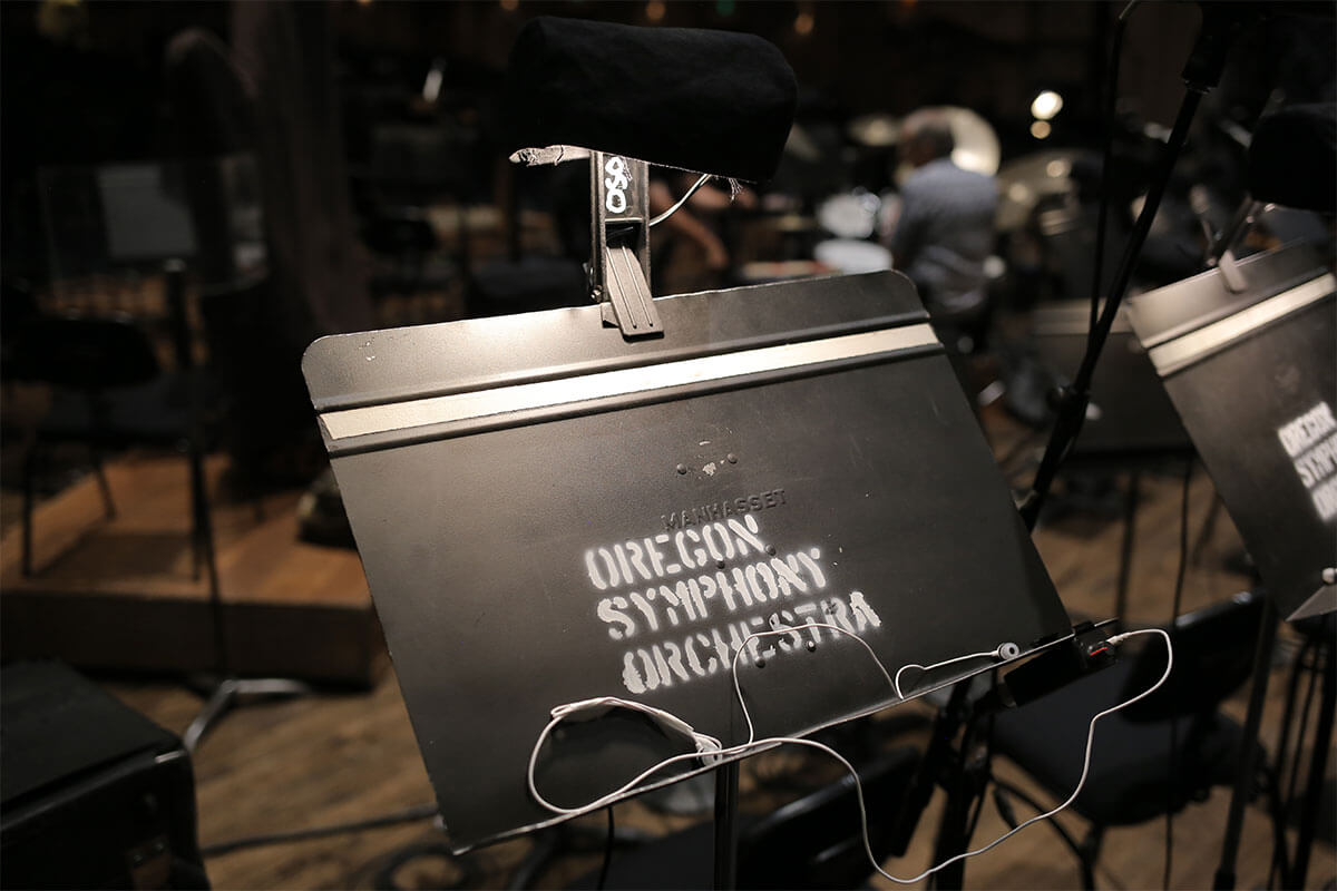 An empty Oregon Symphony music stand