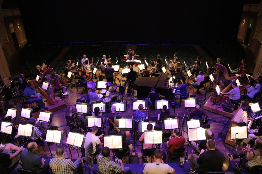 A shot of the full orchestra