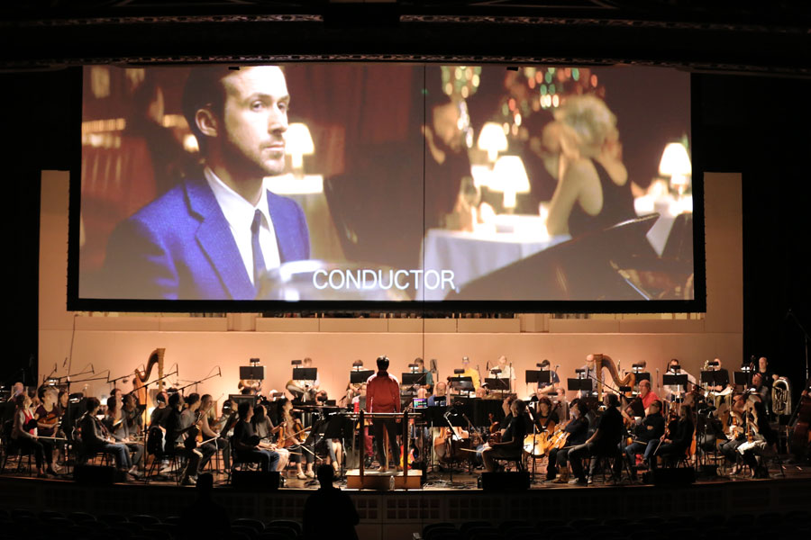 The full movie screen and the orchestra