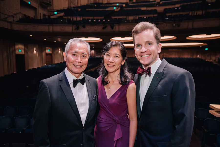 George Takei, Concertmaster Sarah Kwak, and President & CEO Scott Showalter